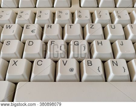 A Close-up View Of The Computer Peripheral Or Hardware, Detail From The Keyboard, Letters And Number