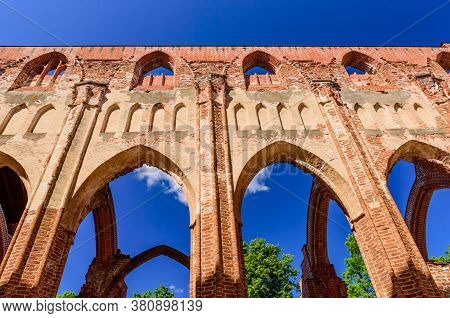 Ruins Of Tartu Cathedral, Also Known As Dorpat Cathedral, Estonia. The Cathedral Was Built From The