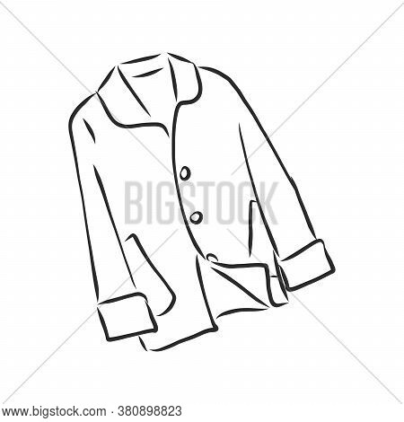 Coat Female With Long Sleeves And Pockets. Vector. Coat, Vector Sketch Illustration