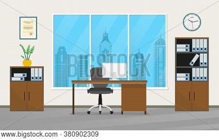 Office Interior Design. Modern Business Workspace With Office Furniture: Chair, Desk With Computer,