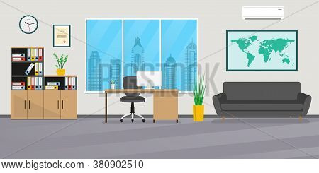 Office Interior In Flat Style. Modern Business Workspace With Office Furniture: Chair, Desk, Compute