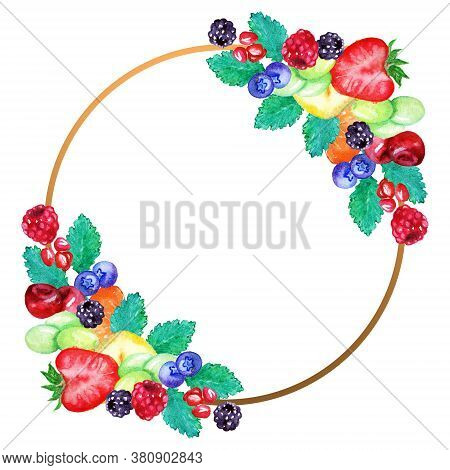 Watercolor Fruit Berry Sweet Summer Frame Border Isolated Art