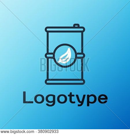 Line Bio Fuel Barrel Icon Isolated On Blue Background. Eco Bio And Canister. Green Environment And R