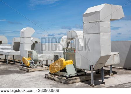 Industrial Air Conditioning Units. Industrial Air Conditioning And Ventilation Systems On Roof.