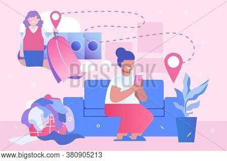 Tired Housewife Orders Of Dry Cleaning Service With Home Visit By Smartphone. Online Laundry With De