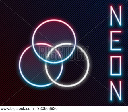 Glowing Neon Line Rgb And Cmyk Color Mixing Icon Isolated On Black Background. Colorful Outline Conc