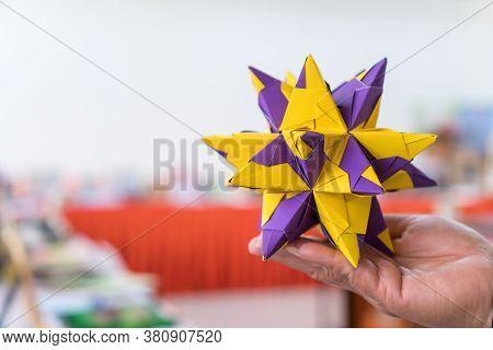 Multicolor Modular Origami Star Sphericalal Of Modular Origami Spiky Ball Model On Hand, Decoration