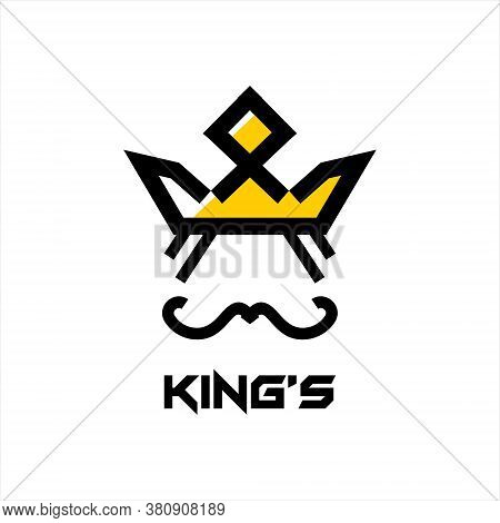 Crown Logo Abstract Design Vector Template. Geometric Black King Face Authority Icon Idea