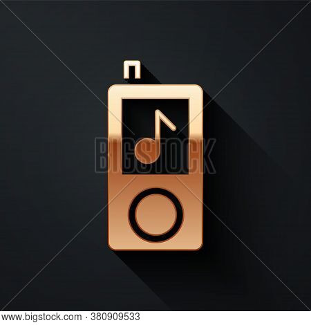 Gold Music Player Icon Isolated On Black Background. Portable Music Device. Long Shadow Style. Vecto