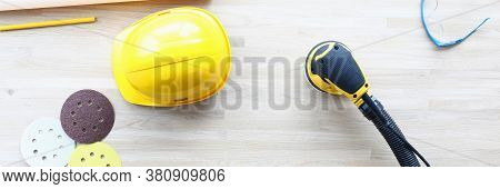 Top View Of Equipments For Woodworker. Professional Repair Tools Set. Helmet, Grinding Wheel, Sander
