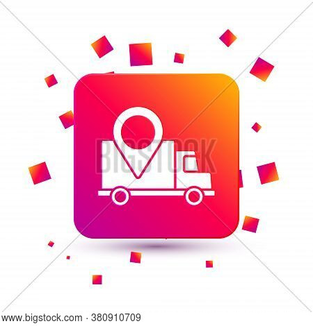 White Delivery Tracking Icon Isolated On White Background. Parcel Tracking. Square Color Button. Vec