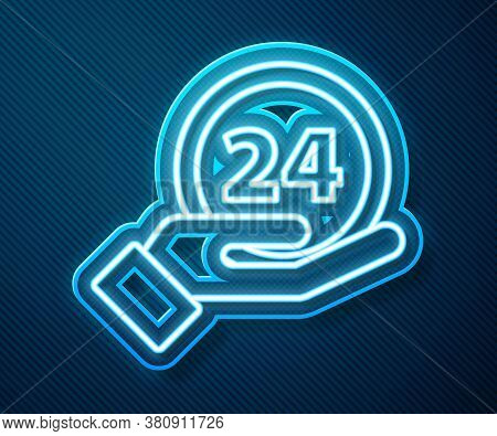 Glowing Neon Line Clock 24 Hours Icon Isolated On Blue Background. All Day Cyclic Icon. 24 Hours Ser