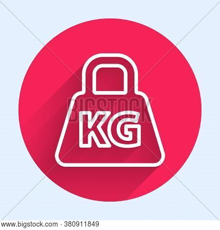 White Line Weight Icon Isolated With Long Shadow. Kilogram Weight Block For Weight Lifting And Scale