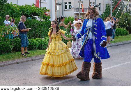 Tivat / Montenegro - June 10 2018: International Summer Carnival In Tivat. Children's Parade. Partic