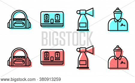 Set Line Air Horn, Sport Bag, Hockey Mechanical Scoreboard And Hockey Coach Icon. Vector