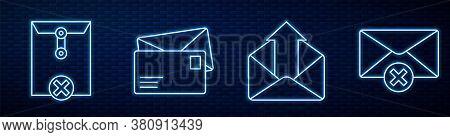 Set Line Outgoing Mail, Delete Envelope, Envelope, Delete Envelope And Envelope With Shield. Glowing