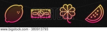 Set Line Casino Slot Machine With Clover, Casino Slot Machine With Lemon, Stacks Paper Money Cash An