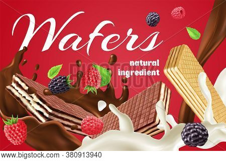 Realistic Advertisement With Chocolate Cream And Berry Wafers Made Of Natural Ingredients On Red Bac