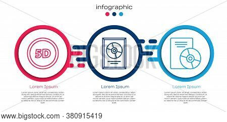 Set Line 5d Virtual Reality, Cd Disk Award In Frame And Cd Or Dvd Disk. Business Infographic Templat