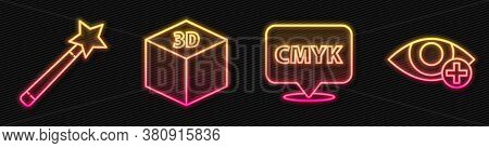 Set Line Speech Bubble With Text Cmyk, Magic Wand, Isometric Cube And Red Eye Effect. Glowing Neon I