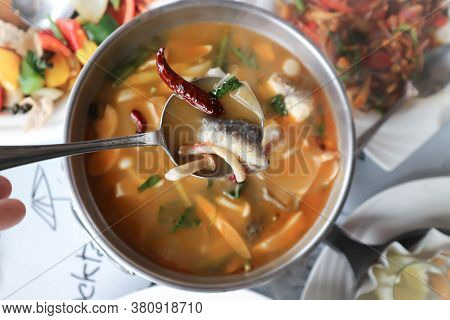 Fish Soup Or Fish And Mushroom Soup, Spicy Soup