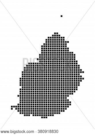 Mauritius Map. Map Of Mauritius In Dotted Style. Borders Of The Island Filled With Rectangles For Yo