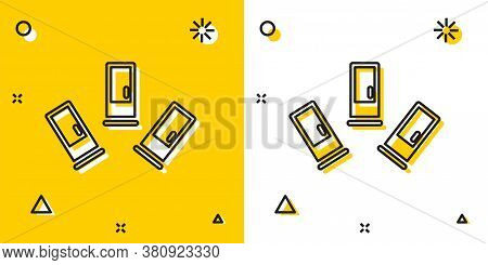 Black Cartridges Icon Isolated On Yellow And White Background. Shotgun Hunting Firearms Cartridge. H