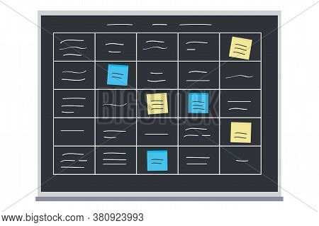 Methodology Tasks On Blackboard, Board Full Of Tasks On Sticky N