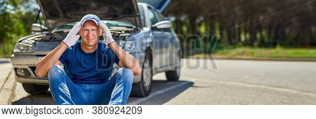 Upset Driver Man In Front Of Automobile Crash Car Collision Accident In City Road