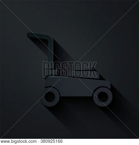 Paper Cut Lawn Mower Icon Isolated On Black Background. Lawn Mower Cutting Grass. Paper Art Style. V