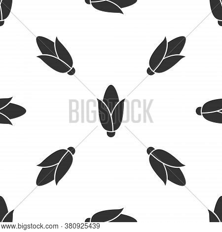 Grey Corn Icon Isolated Seamless Pattern On White Background. Vector