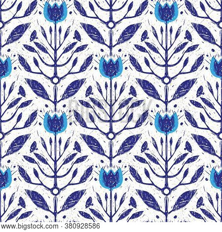 Flower Branches With Flowers Vintage Color Seamless Pattern. Japanese Floral Retro Texture. Blooming