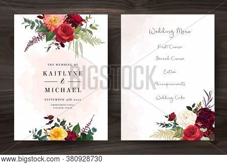 Moody Boho Chic Wedding Vector Bouquet Cards. Warm Fall And Winter Tones. Orange Red, Taupe, Burgund