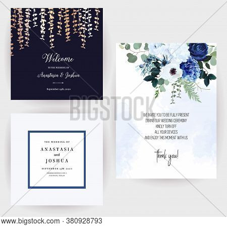 Classic Blue Rose, White Hydrangea, Ranunculus, Anemone, Thistle Flowers, Greenery And Eucalyptus, J
