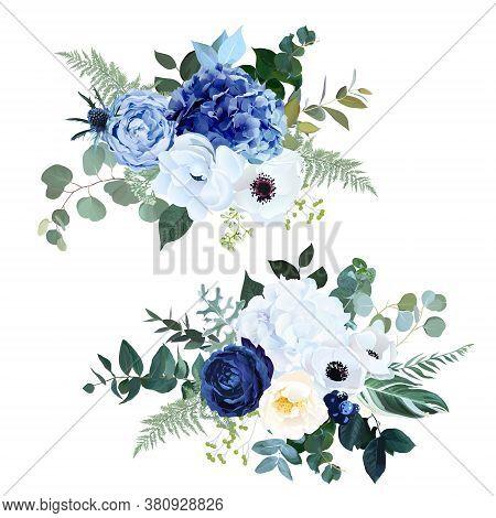 Classic Navy Blue Rose, White Hydrangea, Ranunculus, Anemone, Dark Thistle Flowers, Greenery And Euc