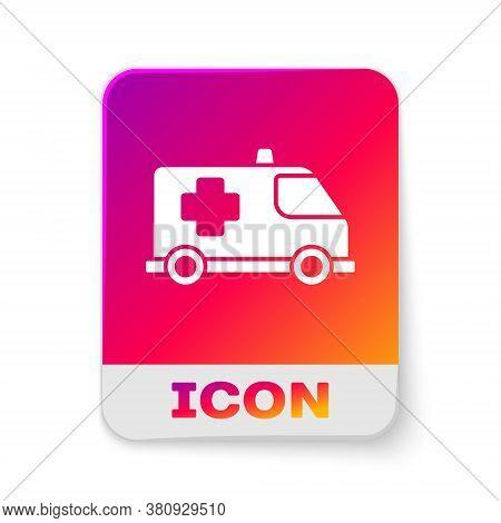 White Ambulance And Emergency Car Icon Isolated On White Background. Ambulance Vehicle Medical Evacu