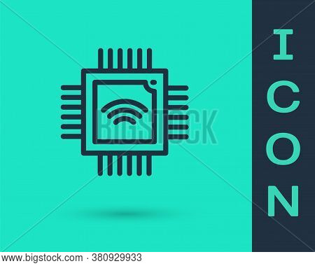 Black Line Computer Processor With Microcircuits Cpu Icon Isolated On Green Background. Chip Or Cpu