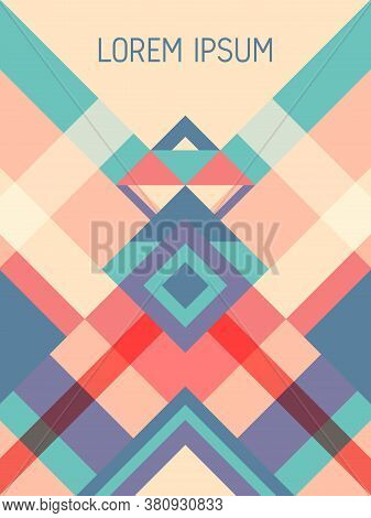 Checkered Cover Page Layout Vector Template Geometric Design With Triangles And Stripes Pattern. Fol