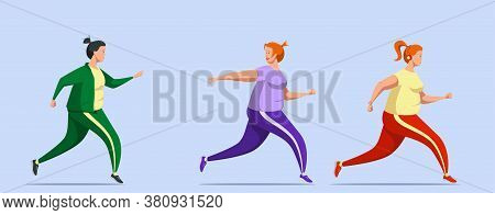 Young Adorable Curvy Girls With Strong Will And Desire To Lose Weight Are Running. Plump Cute Female
