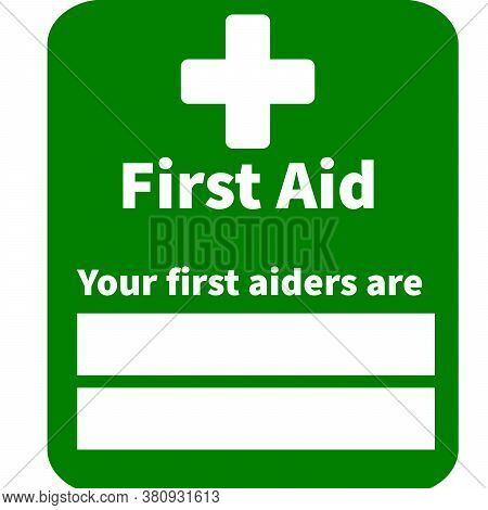 First Aider Signs & Symbols Printable Green Background. Used In Office, Work Place, Nearest First Ai