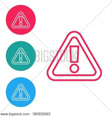 Red Line Exclamation Mark In Triangle Icon Isolated On White Background. Hazard Warning Sign, Carefu