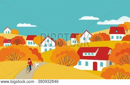 Autumn Rural Valley Landscape Flat Color Vector. Bright Golden Fall Season Scenic View Poster. Count