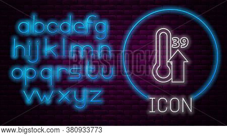 Glowing Neon Line High Human Body Temperature Or Get Fever Icon Isolated On Brick Wall Background. D