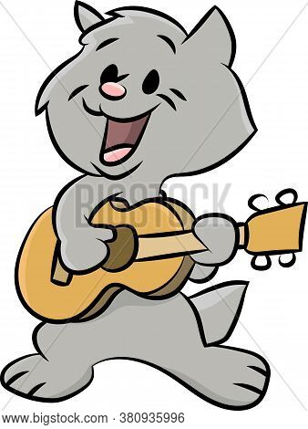 Cute Cartoon Cat Playing Guitar And Singing Songs Vector Illustration