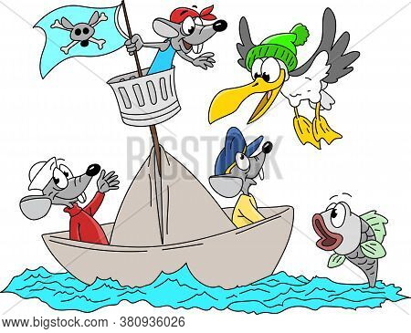 Cartoon Mice, Seagull And Fish Sailing Together Vector Illustration