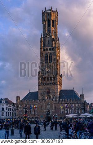 Bruges, Belgium - 14 November 2019: Central Tower In Bruges, Belgium