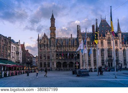 Bruges, Belgium - November 2019: Old Buildings In Center Bruges, Belgium.