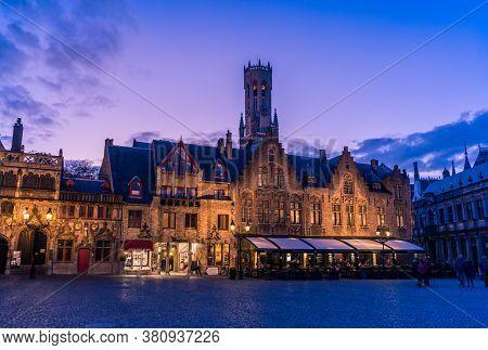 Bruges, Belgium - 14 November 2019: Old Buildings In Center Bruges, Belgium.