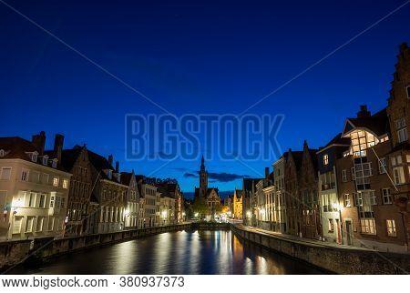 .bruges, Belgium - 14 November 2019: Old Buildings Along Canal In Bruges, Belgium
