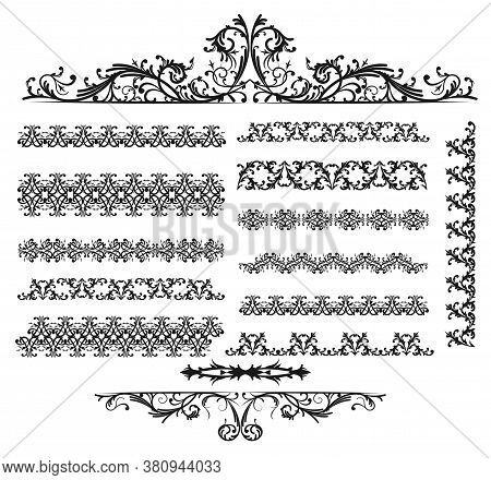 Linear Curly Ornament. Rich Elegant Decorative Pattern Line Outline. Collection Of Frames, Borders.
